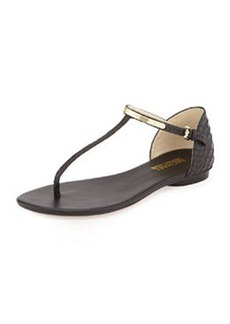 MICHAEL Michael Kors Kristen Snake-Embossed Leather Thong Sandal, Black