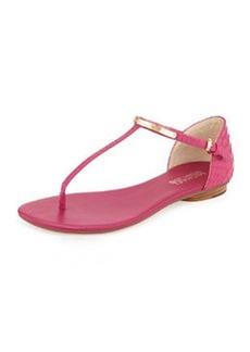 MICHAEL Michael Kors Kristen Snake-Embossed Leather Thong Sandal, Fuchsia