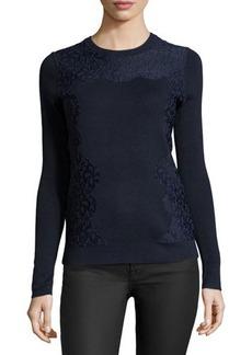 MICHAEL Michael Kors Lace-Front Crewneck Sweater