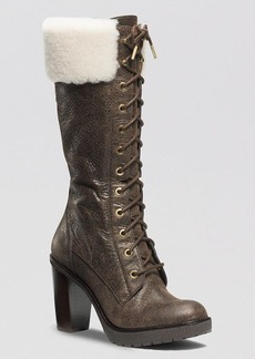 MICHAEL Michael Kors Lace Up Cold Weather Boots - Kim Shearling High Heel