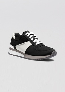 MICHAEL Michael Kors Lace Up Flat Sneakers - Alison Satin Logo