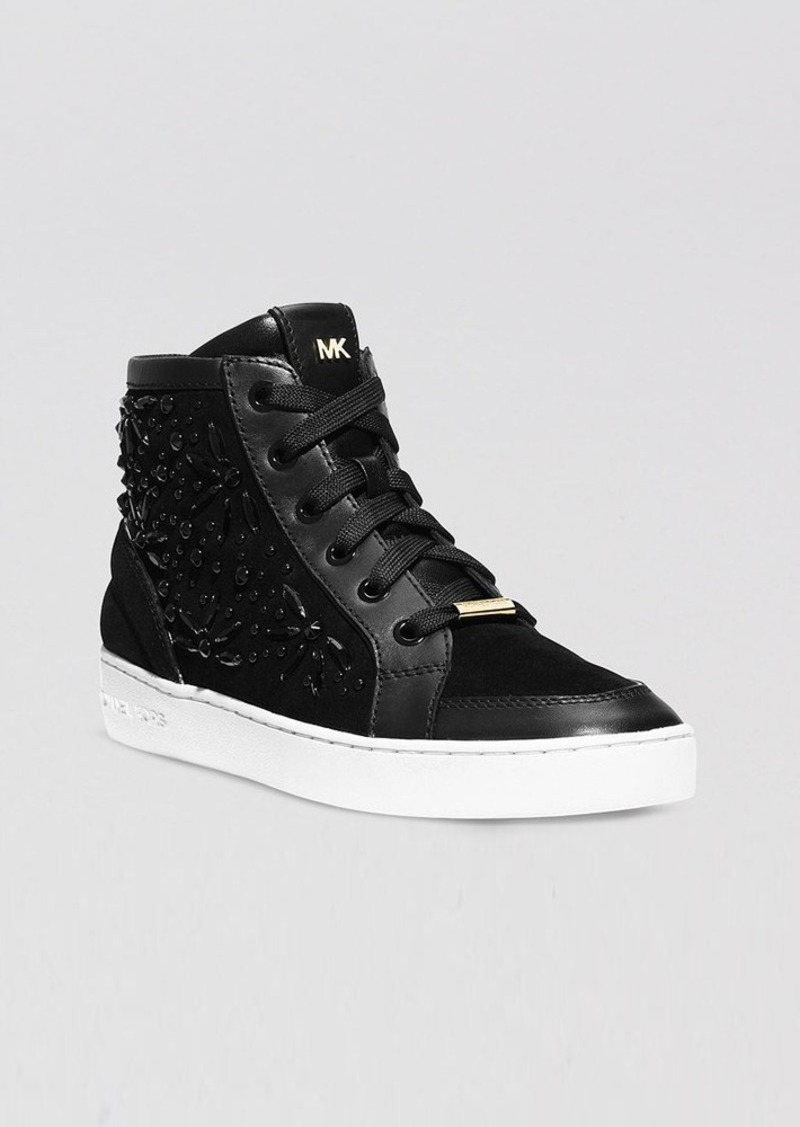 michael michael kors michael michael kors lace up high top sneakers nadine shoes shop it to me. Black Bedroom Furniture Sets. Home Design Ideas