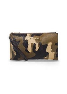 MICHAEL Michael Kors Large Bedford Camo Calf-Hair Zip Clutch