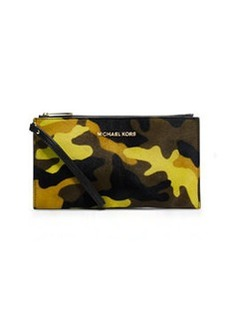 MICHAEL Michael Kors Large Bedford Camo Calf-Hair Zip Clutch