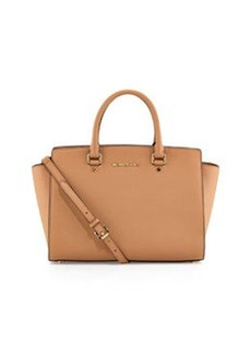 MICHAEL Michael Kors Large Selma Top-Zip Satchel, Suntan
