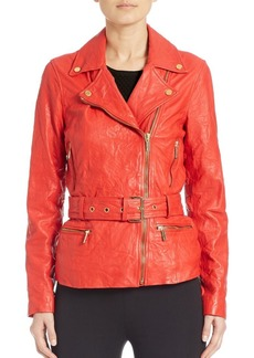 MICHAEL MICHAEL KORS Leather Belted Moto Jacket