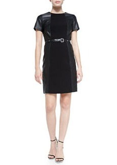 MICHAEL Michael Kors Leather Combo Belted Structured Dress, Black