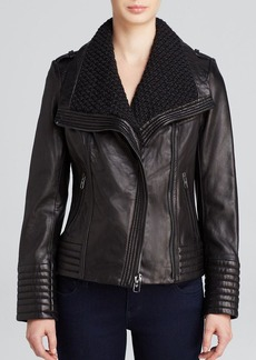 MICHAEL Michael Kors Leather Jacket - Asymmetrical Wing Collar