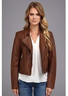 MICHAEL Michael Kors Leather Moto Polished Jacket