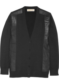 MICHAEL Michael Kors Leather-trimmed knitted cardigan
