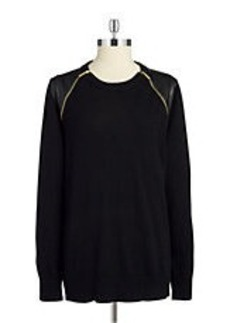 MICHAEL MICHAEL KORS Leatherette and Zipper Accented Sweater