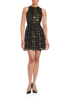 MICHAEL MICHAEL KORS Leones Spot Metallic Jacquard Dress