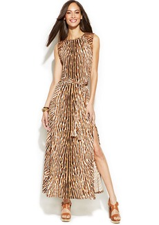 MICHAEL Michael Kors Leopard-Print Stud-Trim Maxi Dress