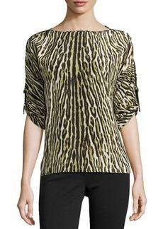 MICHAEL Michael Kors Leopard-Print Tab-Sleeve Tunic