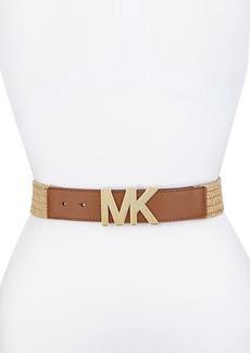 MICHAEL Michael Kors Logo-Channel Straw Panel Belt