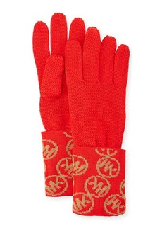 MICHAEL Michael Kors Logo-Cuff Knit Gloves