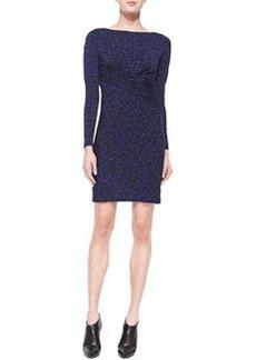 MICHAEL Michael Kors Long-Sleeve Animal-Print Draped Dress