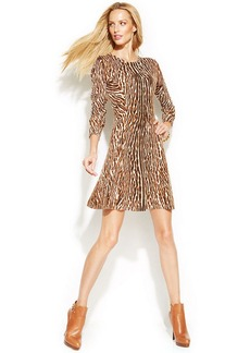 MICHAEL Michael Kors Petite Animal-Print Sweater Dress