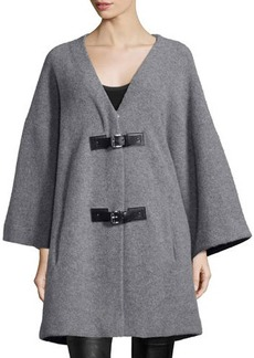 MICHAEL Michael Kors Long-Sleeve Buckle-Front Coat  Long-Sleeve Buckle-Front Coat