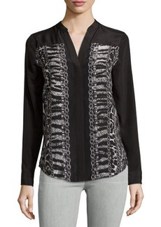 MICHAEL Michael Kors Long-Sleeve Chain Link-Print Button-Down Blouse