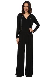 MICHAEL Michael Kors Long Sleeve Chain Neck Wide Leg Jumpsuit
