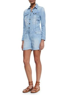 MICHAEL Michael Kors Long-Sleeve Chambray Boiler Jumpsuit, Light Denim
