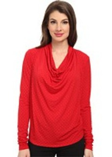 MICHAEL Michael Kors Long Sleeve Cowl Neck Dip Hem Top