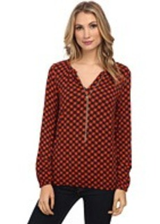 MICHAEL Michael Kors Long Sleeve Dogtooth Chain Peasant Top