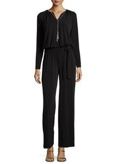 MICHAEL Michael Kors Long-Sleeve Drawstring Necklace Jumpsuit