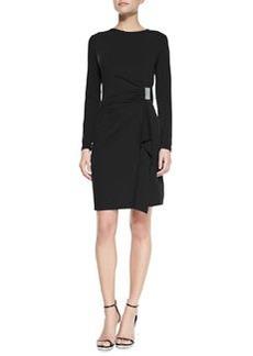 MICHAEL Michael Kors Long-Sleeve Faux-Wrap Logo-Plate Dress, Women's