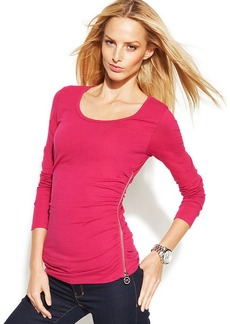 MICHAEL Michael Kors Long-Sleeve Side-Zip Top