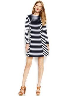 MICHAEL Michael Kors Long-Sleeve Striped Panel Dress