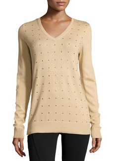 MICHAEL Michael Kors Long-Sleeve Studded Pullover Sweater