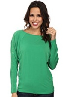 MICHAEL Michael Kors Long Sleeve Studded Raglan Top