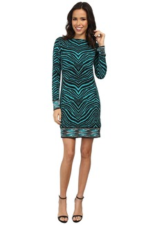 MICHAEL Michael Kors Long Sleeve Zebra Boatneck Border Dress