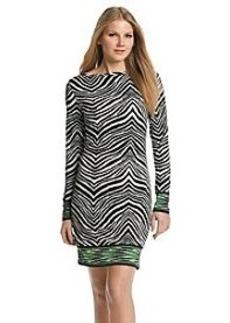 MICHAEL Michael Kors® Long Sleeve Zebra Boatneck Border Dress