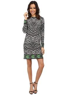 MICHAEL Michael Kors Long Sleeve Zebra Boatneck Border Dress