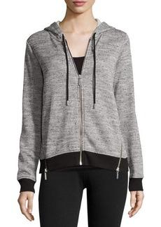 MICHAEL Michael Kors Long-Sleeve Zip-Front Melange Hoodie