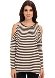 MICHAEL Michael Kors L/S Stripe Cold Shoulder Top