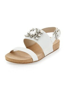 MICHAEL Michael Kors Luna Crystal Sandal, Optic White
