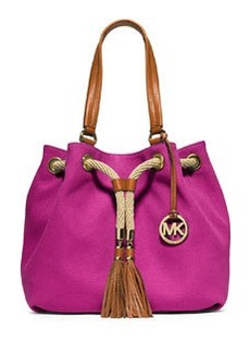 MICHAEL Michael Kors Marina Large Gathered Canvas Tote Bag, Fuchsia