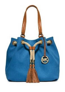 MICHAEL Michael Kors Marina Large Gathered Canvas Tote Bag, Heritage Blue