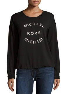 MICHAEL Michael Kors Metallic-Logo Drawstring-Hem Sweater