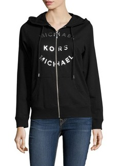 MICHAEL Michael Kors Metallic-Logo Hooded Jacket