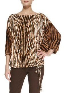 MICHAEL Michael Kors Mixed-Print Batwing Top