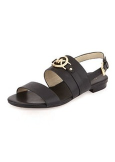 MICHAEL Michael Kors Molly Leather Flat Sandal, Black