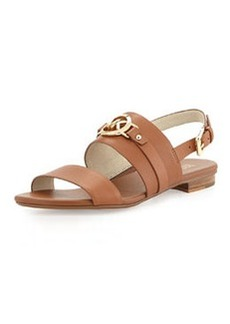 MICHAEL Michael Kors Molly Leather Flat Sandal, Luggage
