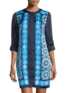 MICHAEL Michael Kors Mosaic-Print Long-Sleeve Shirtdress