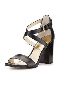 MICHAEL Michael Kors Nadja Cross-Strap City Sandal, Black