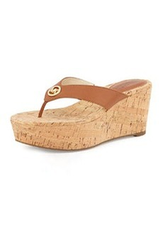 MICHAEL Michael Kors Natalia Leather Wedge Sandal, Brown